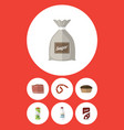 flat icon food set of beef tart packet beverage vector image vector image