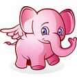 flying pink elephant cartoon character vector image vector image