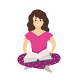 girl with book female character sitting on floor vector image