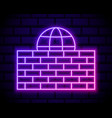 glowing neon line firewall security wall icon vector image vector image