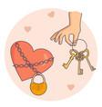 hand holding golden keys vector image vector image