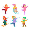 happy childrens playing in winter games cartoon vector image