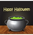 Happy halloween banner with witch cauldron boiling vector image