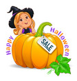 happy halloween funny girl in hat with pumpkin vector image vector image
