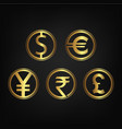 international currency icon collection vector image vector image