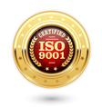 ISO 9001 certified medal - quality management vector image vector image