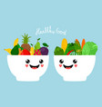 kawaii bowls with fruits and vegetables vector image vector image