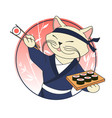 kawaii cartoon cat chief with sushi logo template vector image