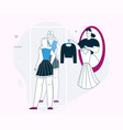 linear character woman buys vector image vector image