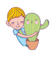 little boy with cactus kawaii character vector image vector image