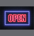 neon open sign brick wall vector image vector image