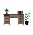 office desk with shelves green lamp and books on vector image
