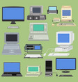 old retro vintage computer pc monitor and vector image vector image