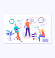 people work in a team and interact with graphs vector image vector image
