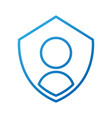 privacy icon shield with person symbol protection vector image