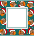 red robin bird santa claus on green banner card vector image vector image