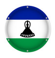 round metallic flag of lesotho with screws vector image vector image