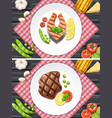 salmon and beef steak on the plates vector image