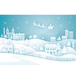 santa claus riding sleigh over city or town vector image vector image