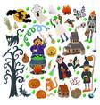 set halloween elements such as monster pumpkin vector image vector image