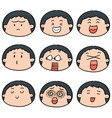 set of cartoon face vector image vector image