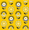 simple yellow folk style flower seamless pattern vector image