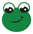 smiling green frog on white background vector image