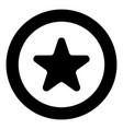 star icon black color in circle vector image vector image