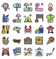 summer vacation related icon set 2 filled style vector image vector image