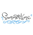 summertime - handwritten lettering word vector image