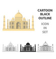 taj mahal icon in cartoon style isolated on white vector image