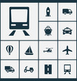 transport icons set collection of chopper way vector image vector image