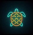 turtle neon sign underwater animal vector image vector image