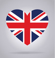 union jack united kingdom flag in heart shape vector image