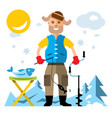 winter fishing flat style colorful cartoon vector image vector image