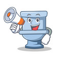 with megaphone toilet character cartoon style vector image vector image