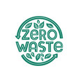 zero waste lettering composition with leaves vector image