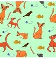 cat kit pattern drawing kids vector image