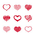 37 set of hand-drawn heart vector image