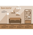 Brown living room interior vector image