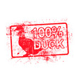 100 per cent duck - red rubber grungy stamp in vector image vector image