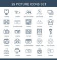 25 picture icons vector image vector image
