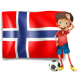 A boy with a soccer ball in front of the flag of vector