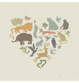 animals silhouettes heart shaped vector image