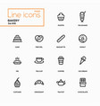 bakery concept - line design icons set vector image vector image
