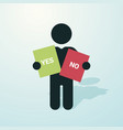 black figure with a placard yes no vector image vector image
