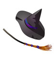 black halloween witch hat and broom sketch vector image