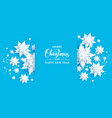 blue paper cut snow vector image vector image