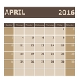Calendar April 2016 week starts from Sunday vector image vector image