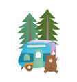 camping cute bear trailer pine trees forest vector image vector image